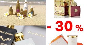 Скидка на всю парфюмерию, ароматизированные свечи для дома и солнцезащитные средства!
