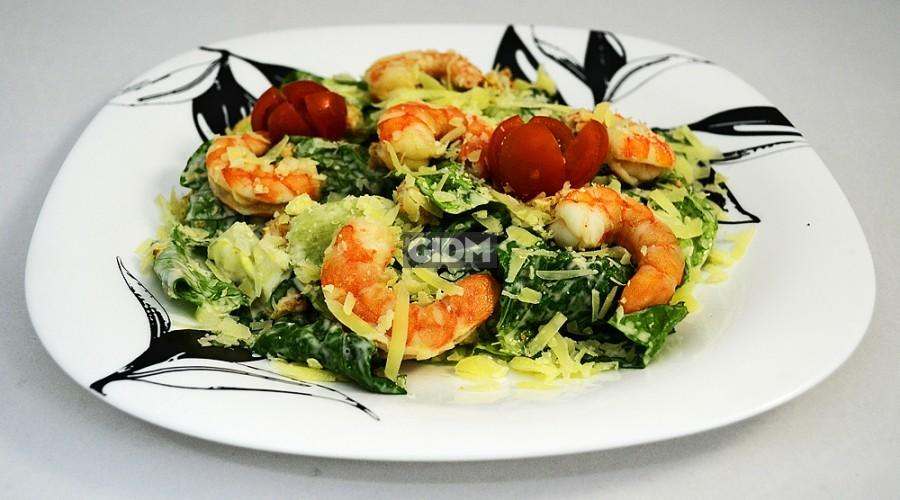 Салат с тигровыми креветками рецепт с фото
