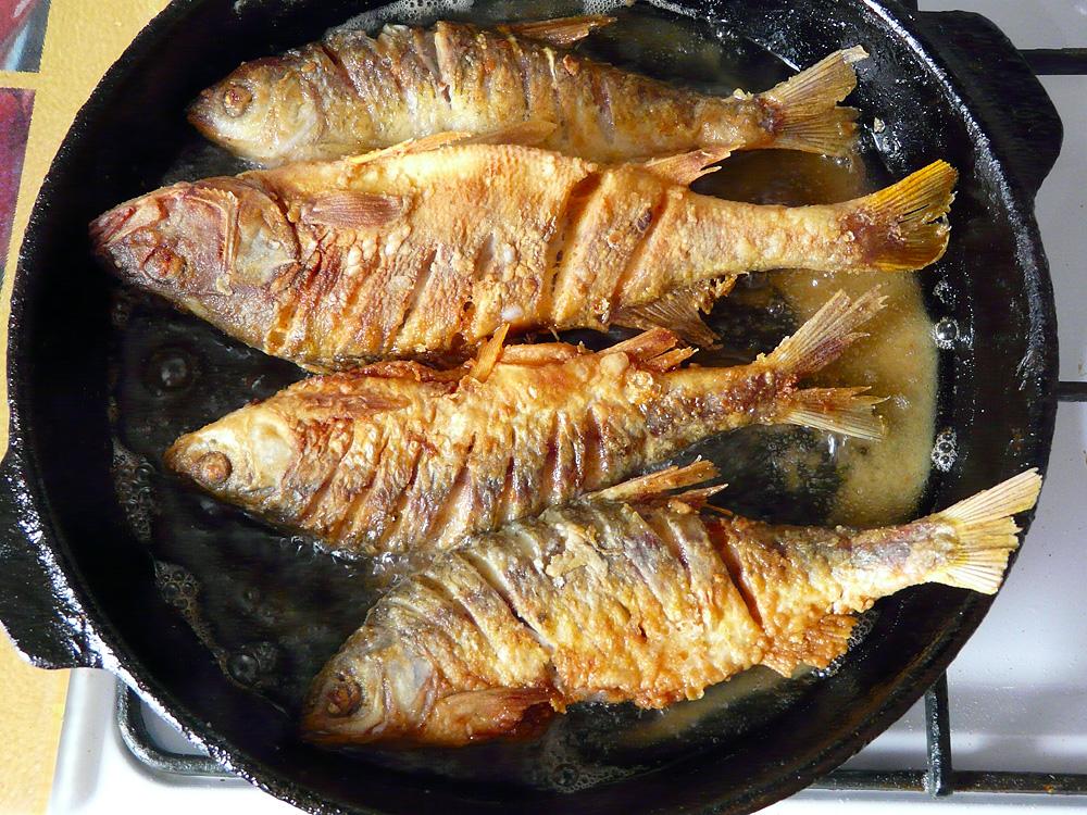Рыба речная жареная в сметане